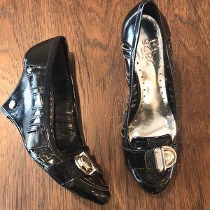 BCBG Paris Black Patent Leather Wedges